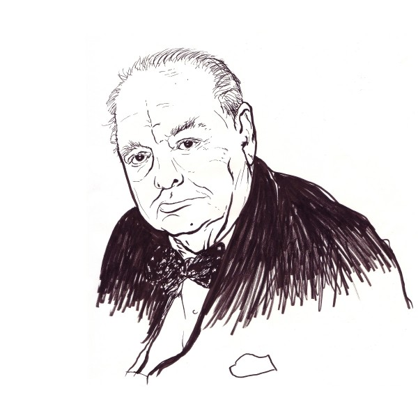 Pen illustration of Winston Churchill in his later life