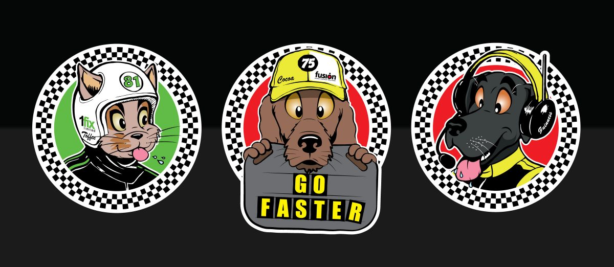 Mascot decals for motor racing team